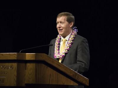 Elder L. Todd Budge at the pulpit