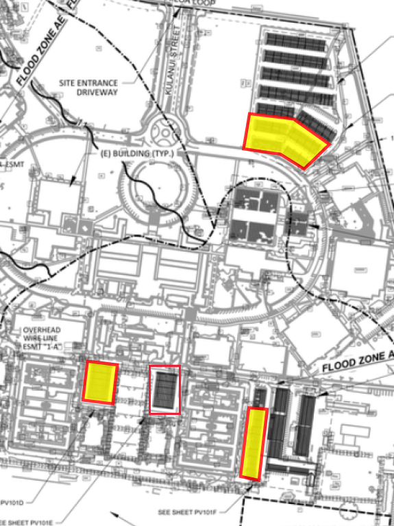 The site entrance driveway can be seen at the top and student dorms are at the bottom of the campus map. Main Parking Lot is near the top right corner of the image and one-third of the parking near LSB is highlighted for removing fencing on January 11 and reopening on January 12. The parking next to Hale 8 (Mauka Hale Parking Lot) which is near the bottom left corner of the map is highlighted for opening on January 13. The parking next to Hale 7 (Makai Hale Parking Lot) is highlighted for steel storage. The parking lot next to the Facilities Management Offices which is near the bottom right corner of the map is highlighted for closure between January 12 and February 4.