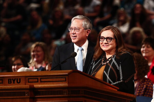 Elder and Sister Gong speak at BYU women's conference