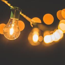 A string of lit lightbulbs