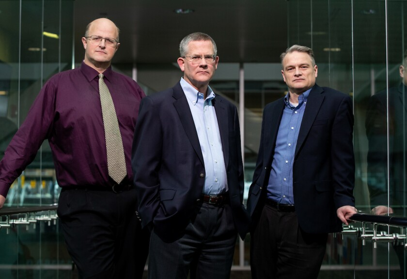 Paul Godfrey (center) with Gove Allen (L) and David Benson (R)