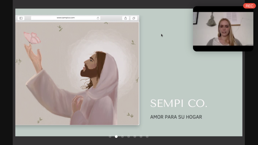 """Screenshot of a Zoom presentation with an illustration of Jesus and the words """"Sempi Co. amor para su hogar"""" on it with a screen on the top right of Ally Pack."""
