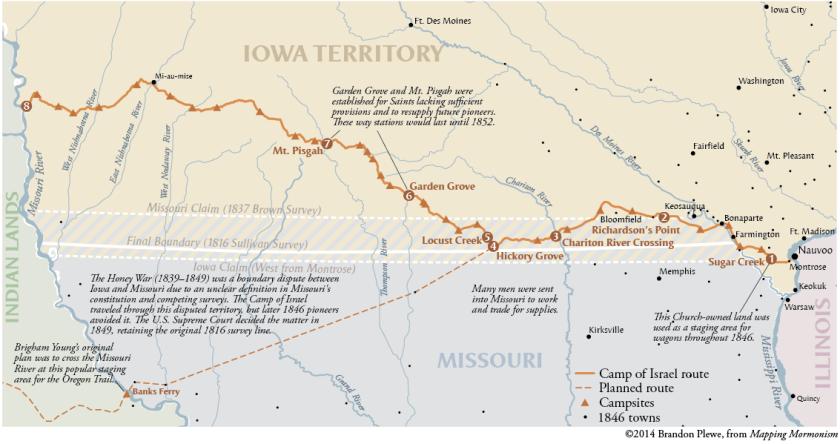 The Camp of Israel crosses Iowa, 1846