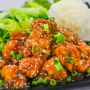 photo of orange chicken with green onions, small side salad, and a scoop of rice