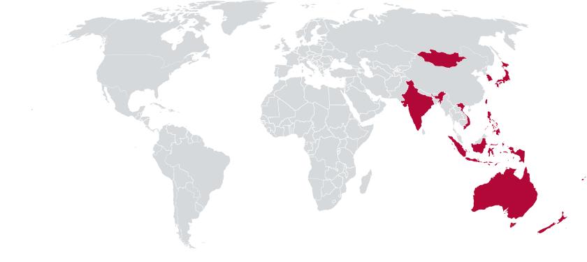 Map of APCC participating countries from Vietnam, Tonga, Taiwan, Samoa, Philippines, New Zealand, Mongolia, Micronesia, Korea, American Samoa, Cook Island, Fiji, Hong Kong, India, Indonesia, and Japan.