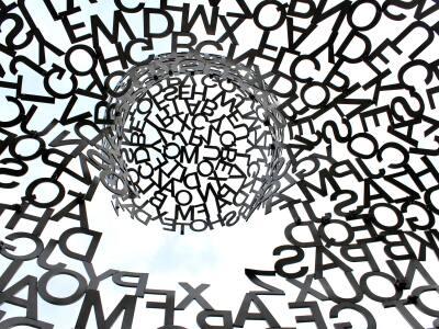 A swirl of random black letters.