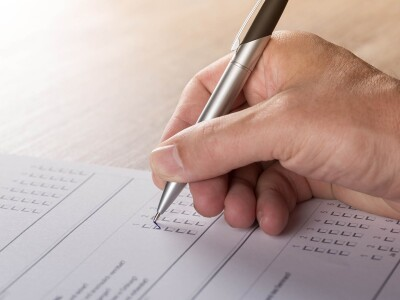 A student filling out a form