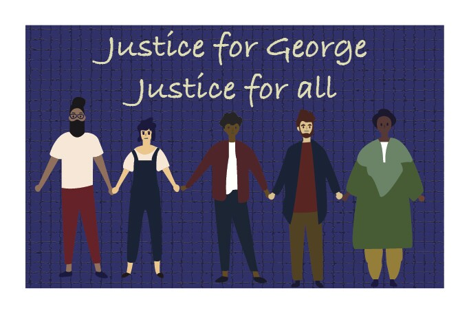 """A graphic of five people holding hands with the words above that read """"Justice for George, Justice for all."""""""