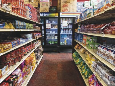 An aisle of food in the C Store on campus