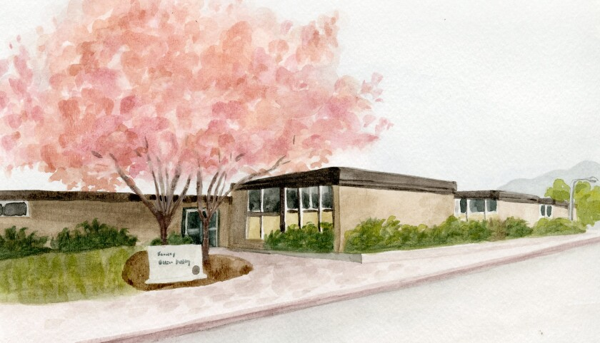Watercolor painting of the old Economics building with a beautiful cherry blossom tree