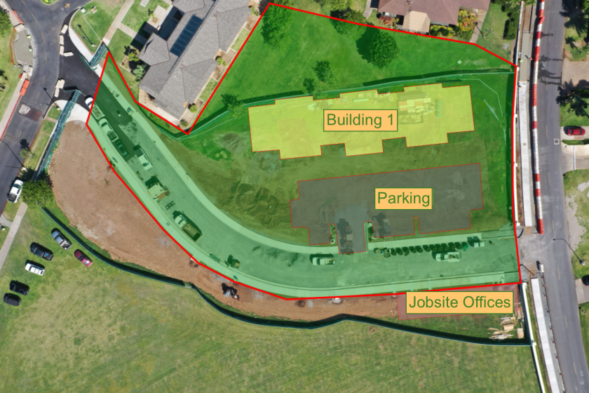 The map of the Mikionele Way Extension project plan. Naniloa Loop is on the right-hand side and Temple View Apartments A-Z (TVA) is on the left-hand side of the Mikionele  Way Extension. The area below the Extension and next to the Loop is marked as Jobsite Offices. The area right above the Extension is marked as Parking. Another area above the Parking mark is marked as Building 1.