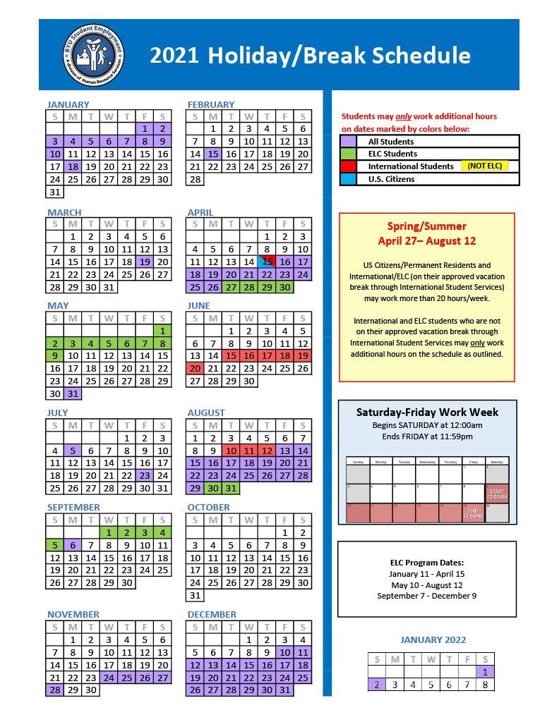 Byu Calendar 2022.Holiday Break Schedule
