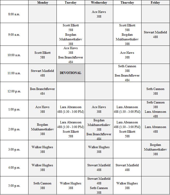 1-17 Computer Lab TA Schedule