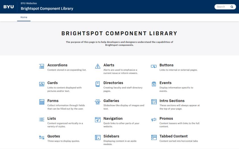 Brightspot Component Library website screenshot