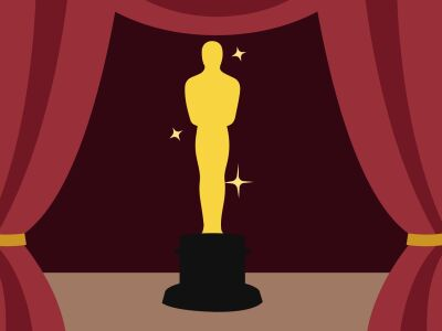 An illustration of an academy award and curtains