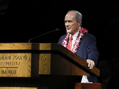 Image of President Tanner speaking at BYUH Devotional