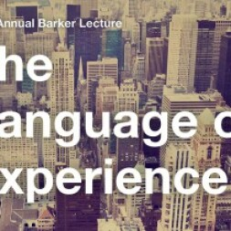Image of a big city with word the language of experience on it