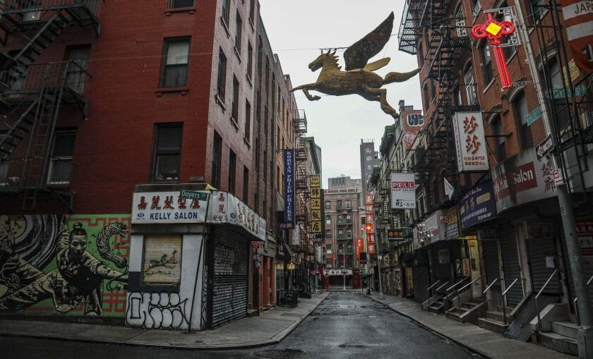 An empty street in New York City's Chinatown.