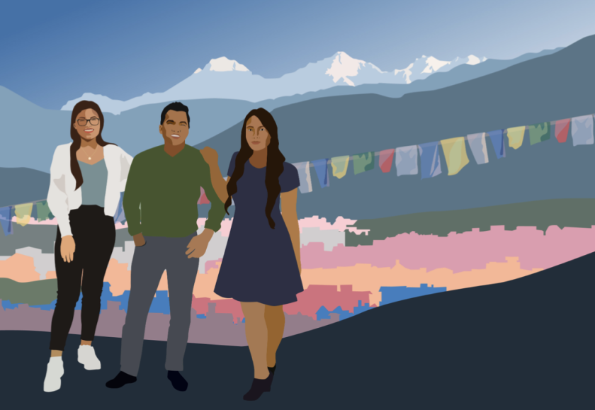 An illustration of three people standing next to each other with flags and mountains in the background.