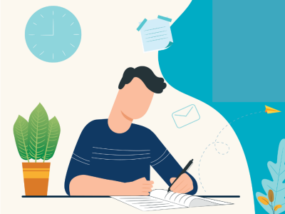 Graphic of a boy writing a letter