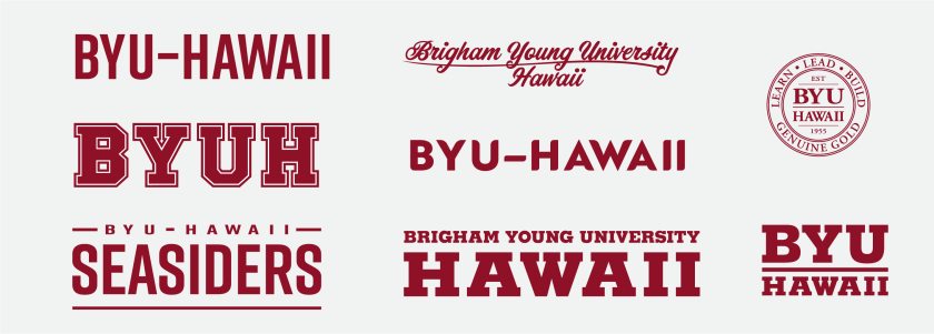 """Eight merchandising mark examples from the existing collection that has """"BYU–Hawaii"""", """"Brigham Young University–Hawaii"""", """"BYUH"""", or BYU–Hawaii Seasiders"""" designed in the mark."""