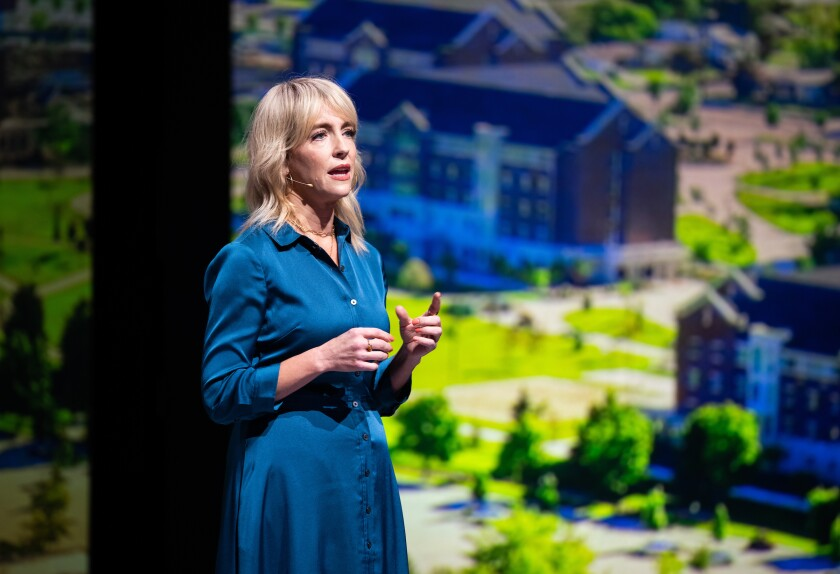 """Lisa Valentine Clark, BYUradio show host of """"The Lisa Show,"""" delivers a devotional address to campus."""