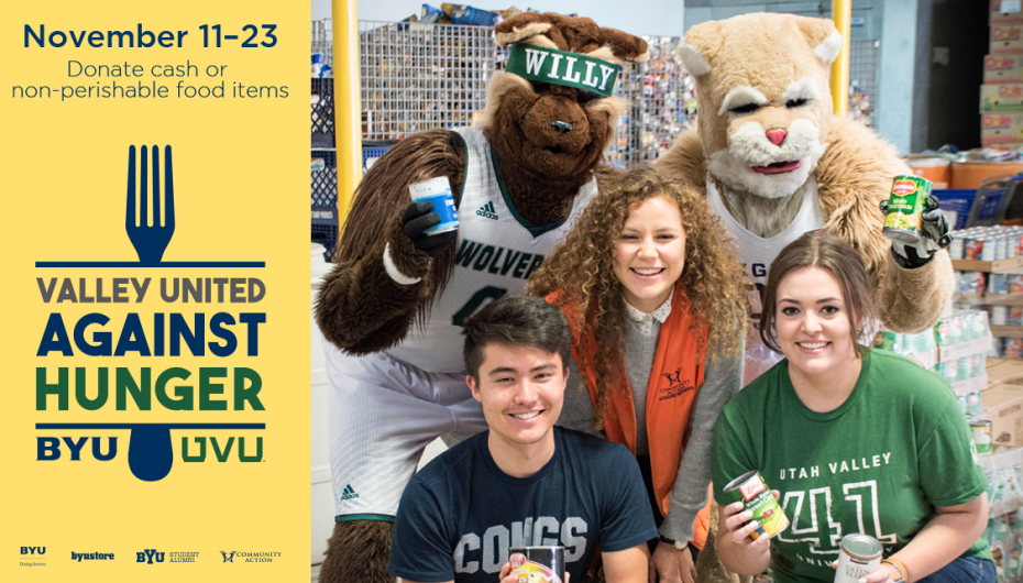 Cosmo and Willy together with some college kids promoting the donation of food.