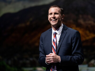 John Bingham, BYU Donald L. Staheli professor and associate dean of the Marriott School of Business, delivering a devotional address to campus.