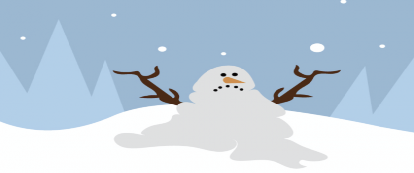 Illustration of an unhappy snowman melting in the snow