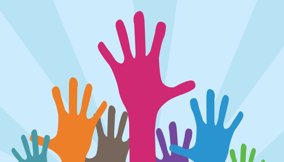 Various colored hands reaching in the air