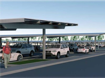Graphic Rendering of solar carports with cars and pedestrians