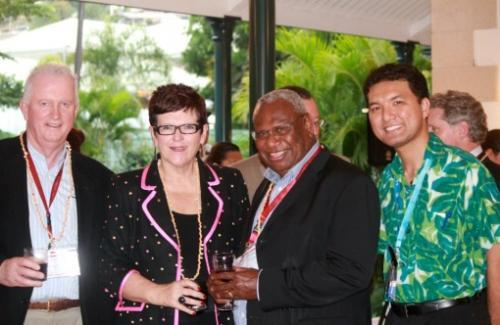 Photo of Hironui with the former priminister and two other people