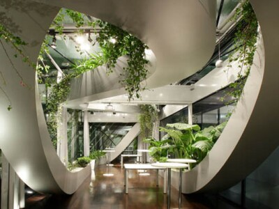 rooftop meeting space with swopping lush panoramic interior garden