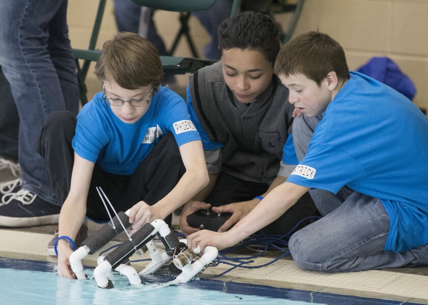 Students launch their robot during last year's competition.