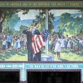 Mural of David O. McKay at a Laie Elementary School flag raising ceremony