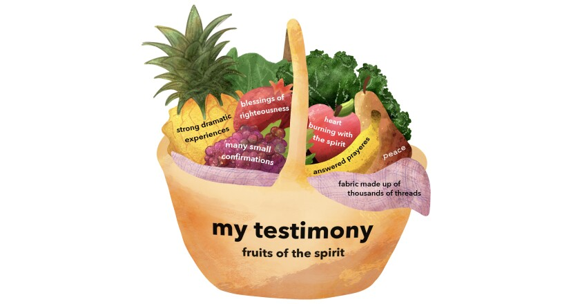 "Graphic of a fruit basket with the words ""my testimony fruits of the spirit, many small confirmations, strong dramatic experiences, blessings of righteousness, heart burning with the spirit, answered prayers, peace, and fabric made up of thousands of threads."""