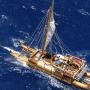Aerial view of the Iosepa canoe, a carved Hawaiian canoe, sailing on the ocean
