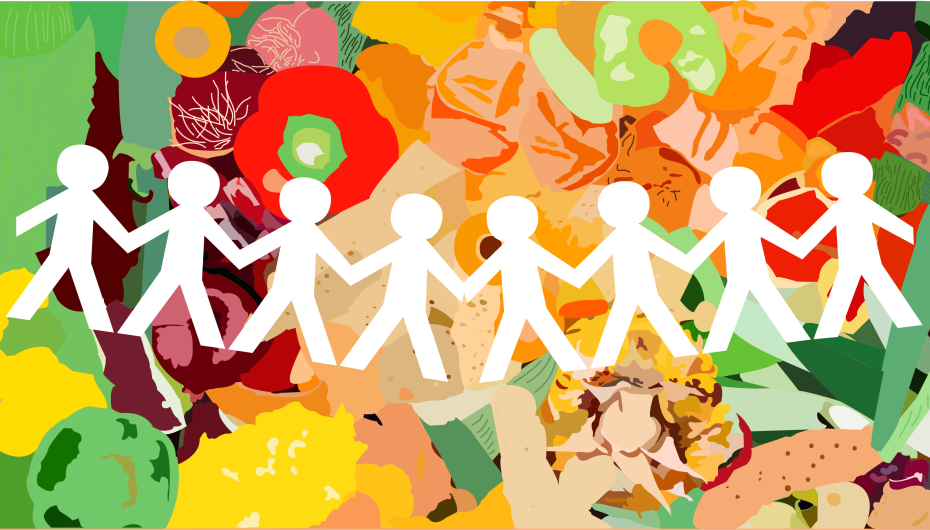 Illustration of paper cut-out people holding hands with food in the background