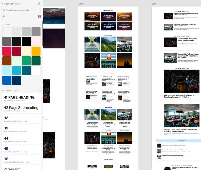 Adobe XD Pattern Library screenshot