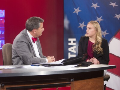 Professor David Magleby and a student talk about the exit poll on the KBYU Election Night set