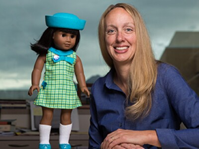 Rebecca de Schweinitz with American Girl Doll