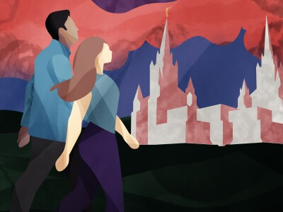 Graphic of a man and woman walking together with clouds and a temple in the background.
