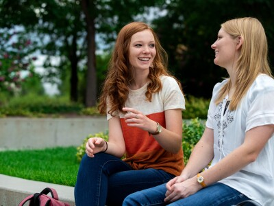BYU students outside