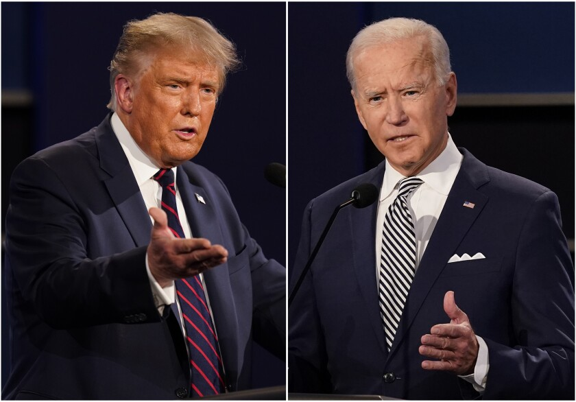 President Donald Trump (left) and former Vice President Joe Biden (right) in photo collage of them two speaking at the presidential debate with their arm held out in front of them while speaking.