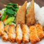 This is a photo of katsu chicken, egg rolls, rice and boc choy.