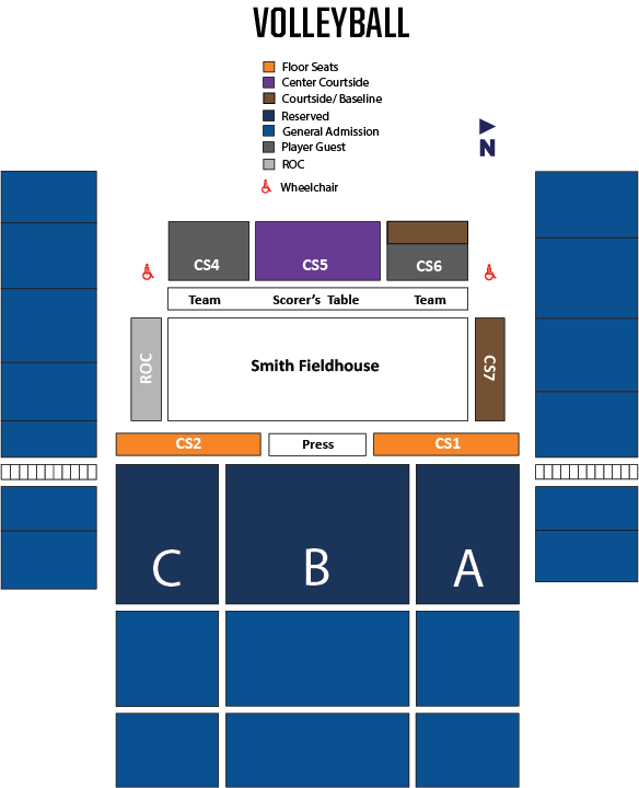 Women's Volleyball Seating Map
