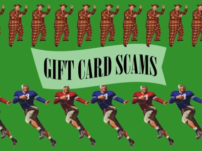 a row of football players and a row of clownish salesmen parading a sign that says gift card scams