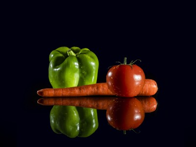 Vegetables with black background