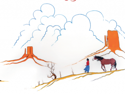 A woman and a horse are walking toward a mountain