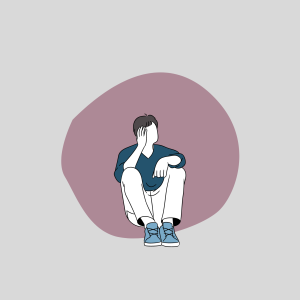 An illustration of a faceless young man sitting down while pondering in a small bubble.